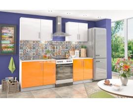Кухонный гарнитур Хелена (Оранжевый/белый, глянец)