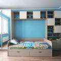 Шкаф с кроватью в детской комнате