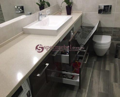Мебель для ванной комнаты с каменной столешницей