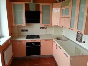 Угловая кухня из мдф персикового цвета, на заказ