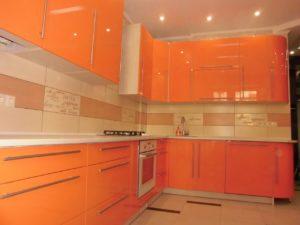 Оранжевая кухня из мдф, на заказ 2