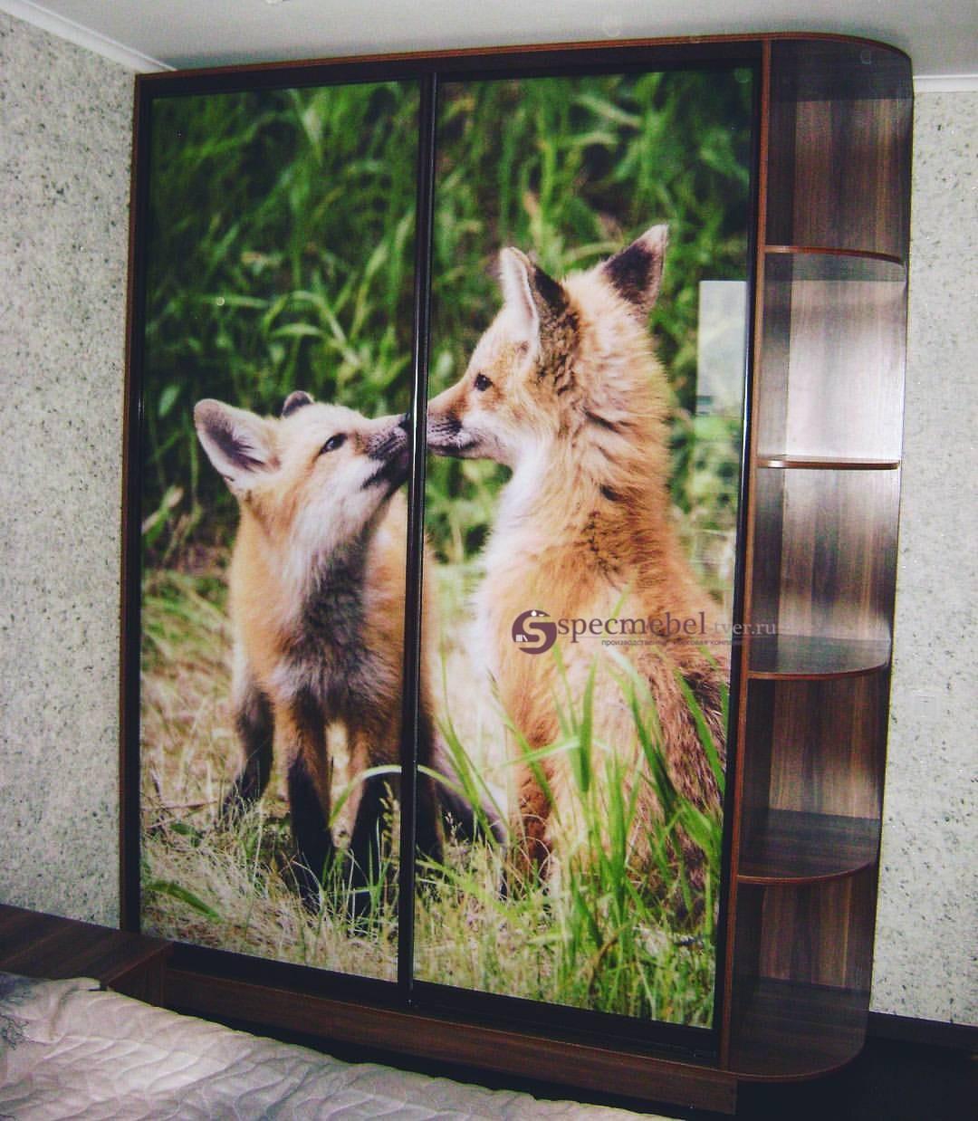 Шкаф-купе с фотопечатью лисы, на заказ