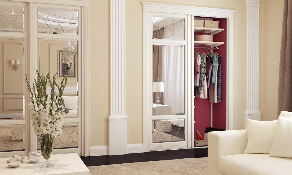 Классический шкаф флоренция с зеркальными дверьми, встроенный в нишу