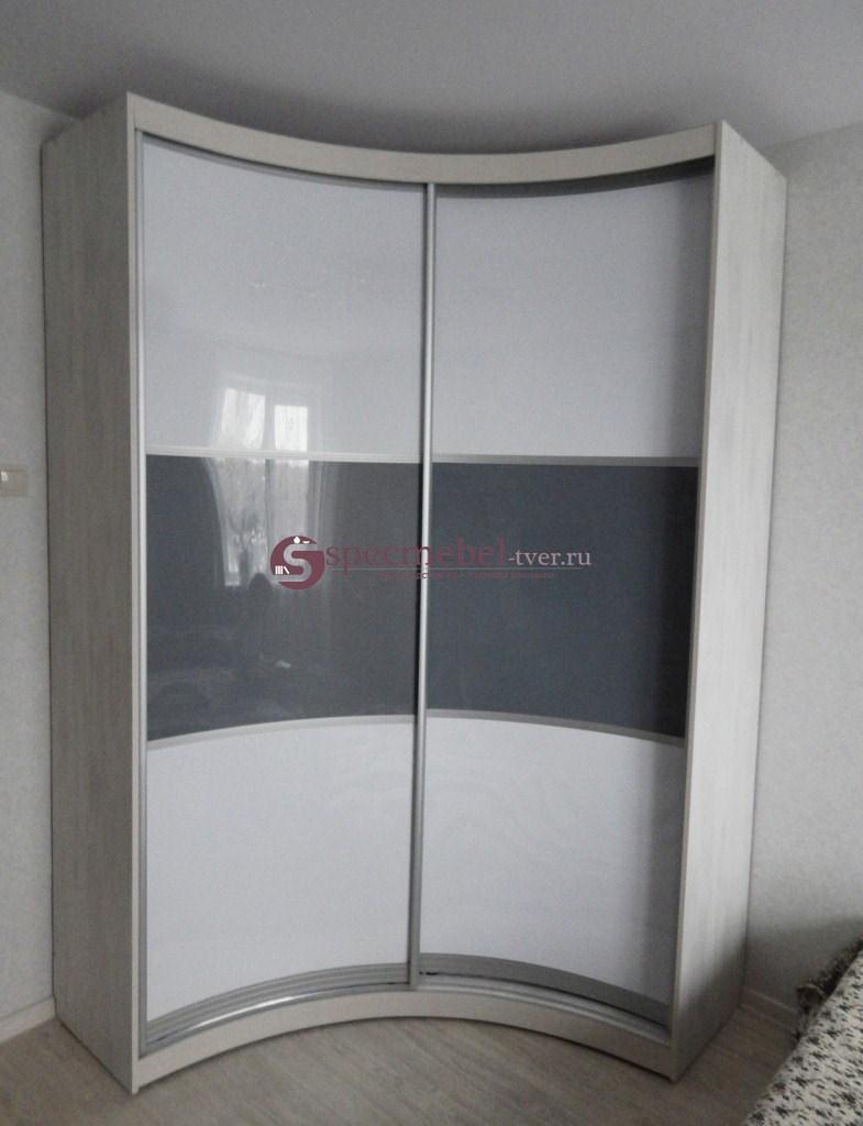 2-х дверный радиусный шкаф-купе угловой